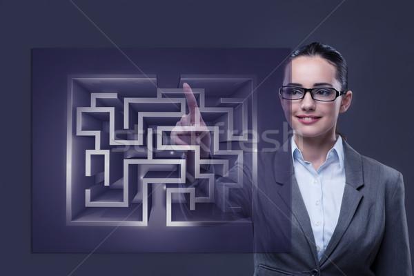 女性実業家 迷路 難しい ビジネス 男 壁 ストックフォト © Elnur