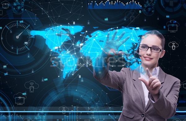 The woman in social data management concept Stock photo © Elnur