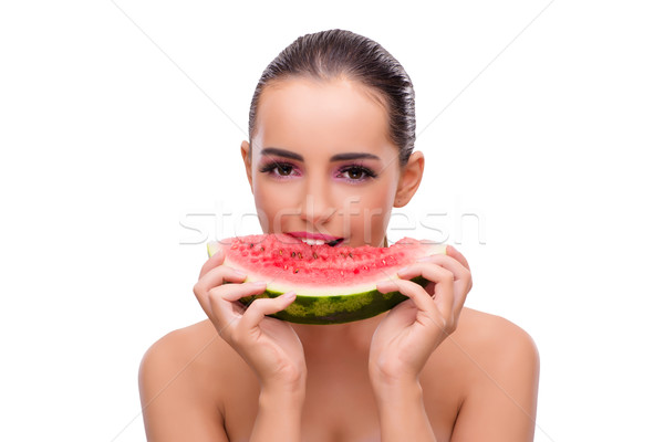 Beautiful woman with watermelon isolated on white Stock photo © Elnur