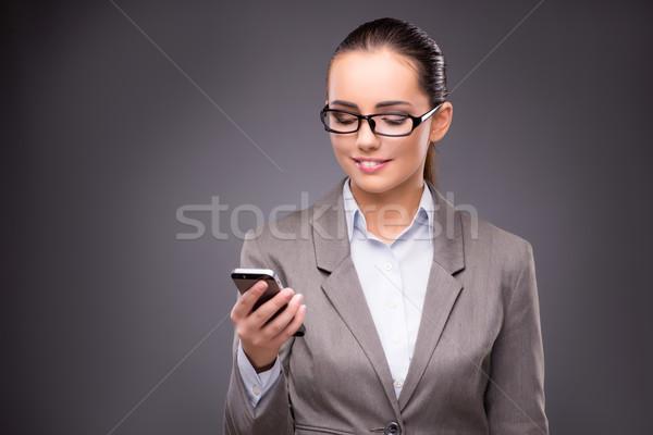üzletasszony sms chat küldés szöveges üzenetek üzlet nő Stock fotó © Elnur