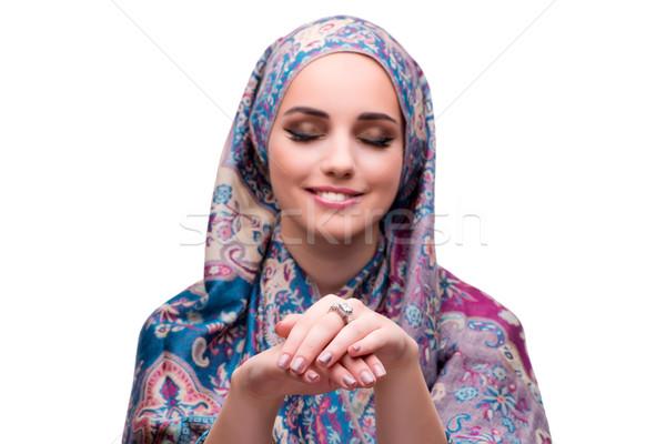 Moslim vrouw mode geïsoleerd witte schoonheid Stockfoto © Elnur