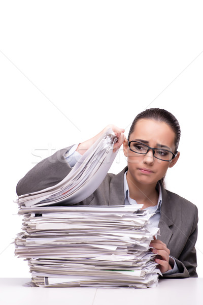 Angry woman with piles of paper on white Stock photo © Elnur