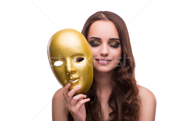 The woman with carnival mask isolated on white Stock photo © Elnur