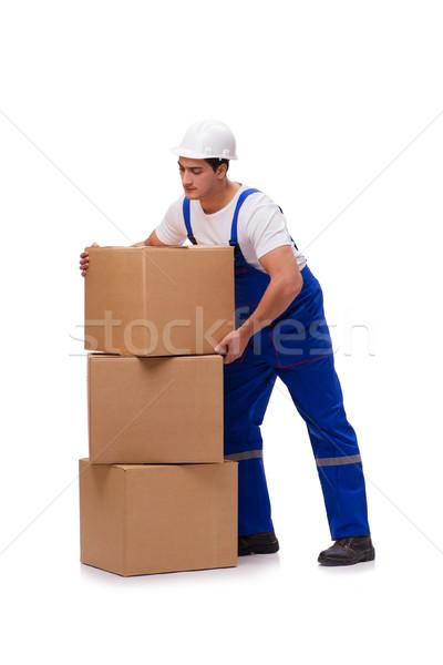 Zdjęcia stock: Człowiek · pola · odizolowany · biały · człowiek · biały · uśmiech