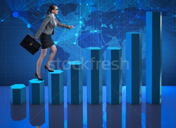 Businesswoman climbing career ladder as trader broker Stock photo © Elnur