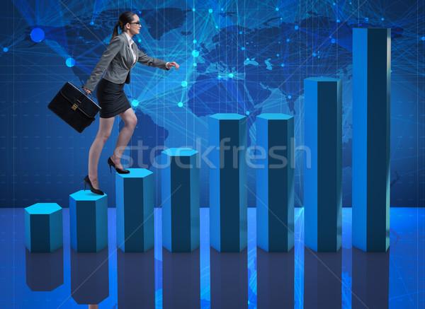 女性実業家 登山 キャリア はしご トレーダー ブローカー ストックフォト © Elnur