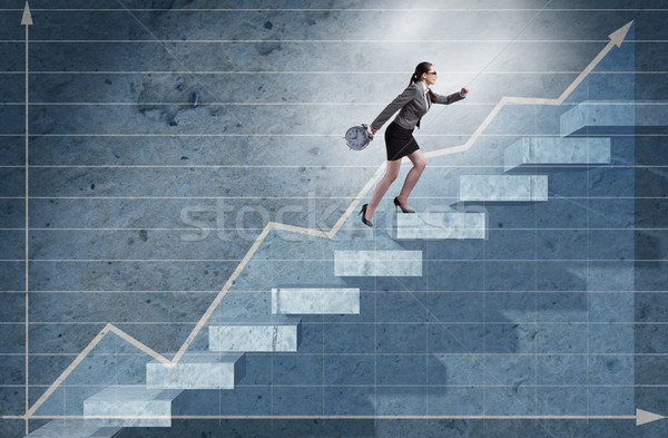 Young businesswoman climbing career ladder Stock photo © Elnur