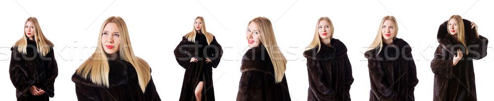 высокий модель шуба девушки моде Сток-фото © Elnur