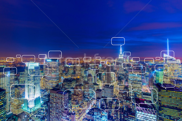 Concept of social networking with city Stock photo © Elnur