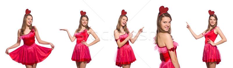 Mädchen ziemlich rosa Kleid isoliert weiß Stock foto © Elnur