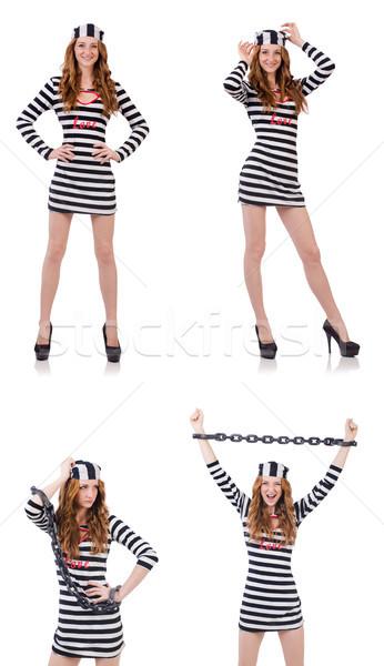 Bastante menina prisioneiro uniforme isolado branco Foto stock © Elnur
