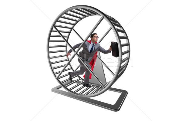 Business zakenman lopen hamster wiel kantoor Stockfoto © Elnur