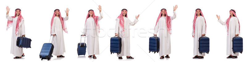 The arab man with luggage on white Stock photo © Elnur