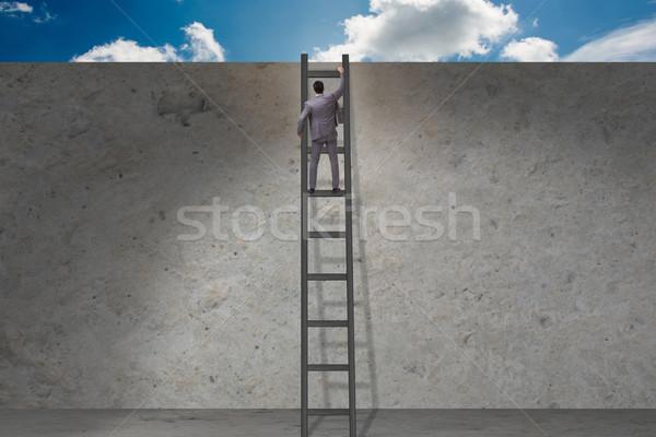 Zakenman klimmen ladder business man achtergrond Stockfoto © Elnur