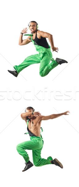Travailleur de la construction sautant danse homme construction mode Photo stock © Elnur