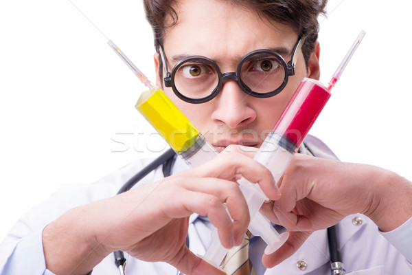 Drôle médecin seringue isolé blanche sourire Photo stock © Elnur