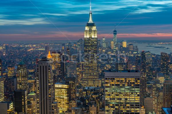 Noche vista Nueva York Manhattan puesta de sol negocios Foto stock © Elnur