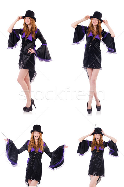 Pretty girl in purple carnival clothing and hat isolated on whit Stock photo © Elnur