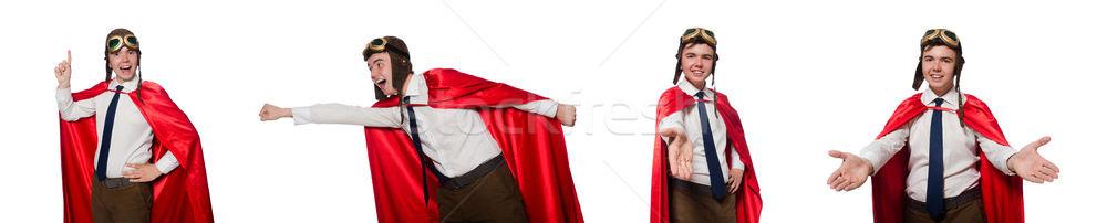 Komik kahraman yalıtılmış beyaz adam çalışmak Stok fotoğraf © Elnur