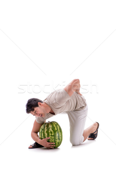 Young man with watermelon isolated on white Stock photo © Elnur
