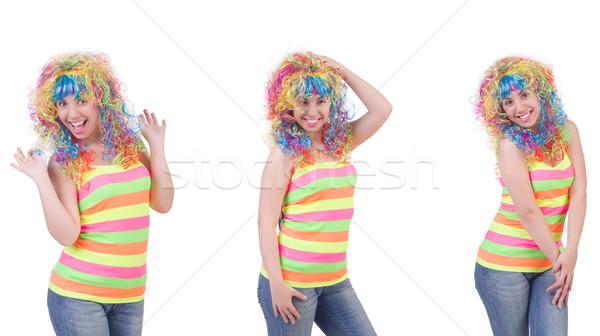 Kadın renkli peruk yalıtılmış beyaz saç Stok fotoğraf © Elnur