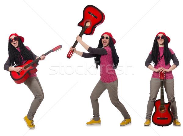 Guitarrista isolado branco mulher feliz guitarra Foto stock © Elnur