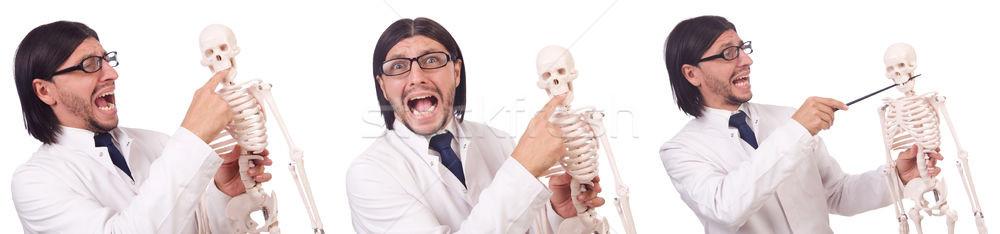 Grappig leraar skelet geïsoleerd witte man Stockfoto © Elnur