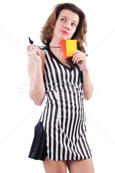 Kadın hakem kart beyaz el spor Stok fotoğraf © Elnur