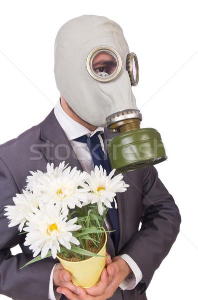 Işadamı gaz maskesi yalıtılmış beyaz iş Stok fotoğraf © Elnur