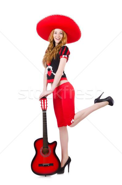 Mulher guitarrista sombrero branco festa guitarra Foto stock © Elnur