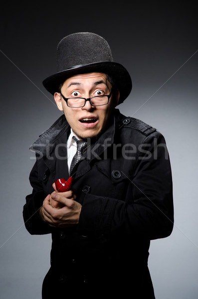 Funny detective with pipe and hat Stock photo © Elnur