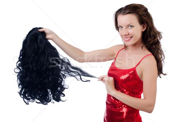 женщину парик изолированный белый текстуры волос Сток-фото © Elnur