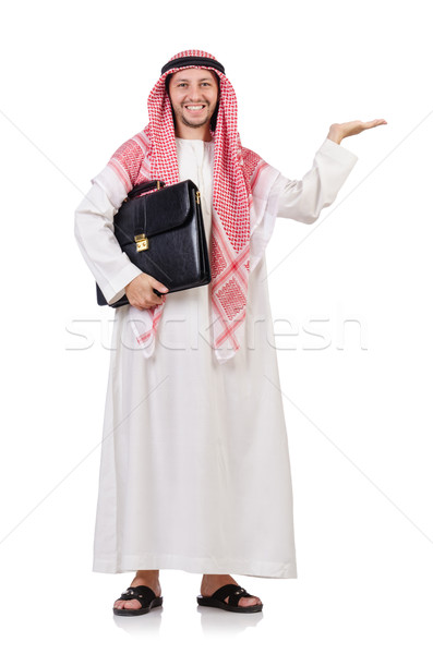 Arab businessman  with briefcase holding hands   isolated on whi Stock photo © Elnur