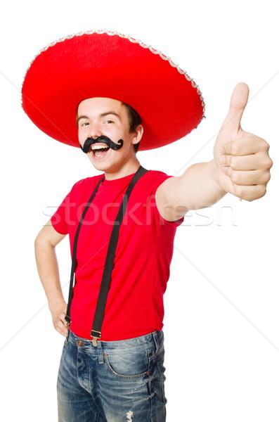 Funny mexican odizolowany biały twarz vintage Zdjęcia stock © Elnur