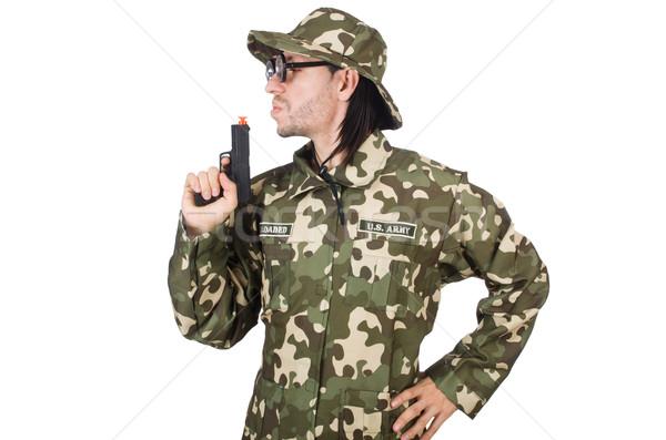 Funny żołnierz wojskowych strony człowiek tle Zdjęcia stock © Elnur