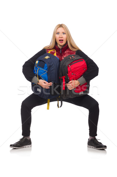 Young woman student with backpack isolated on white Stock photo © Elnur