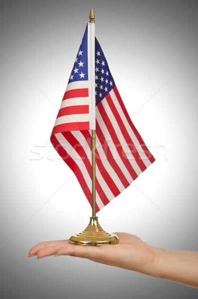Mano bandera de Estados Unidos blanco bandera estrellas Foto stock © Elnur