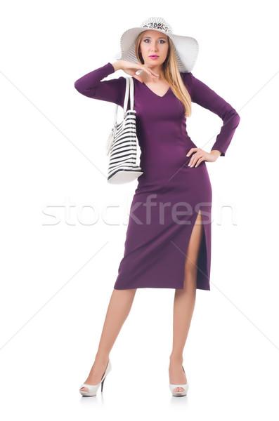 Mujer bolsa moda modelo blanco camisa Foto stock © Elnur