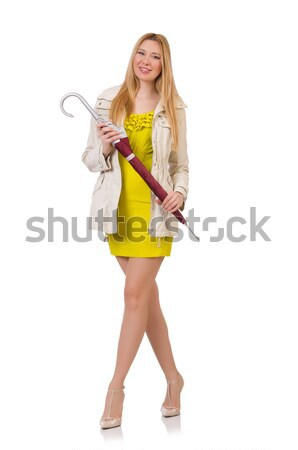 Pretty girl in yellow dress isolated on white Stock photo © Elnur