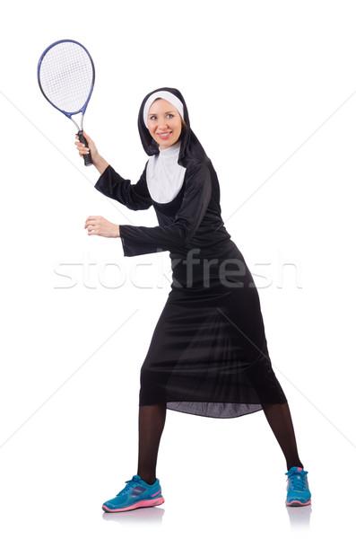 Bastante freira isolado branco mulher sorrir Foto stock © Elnur