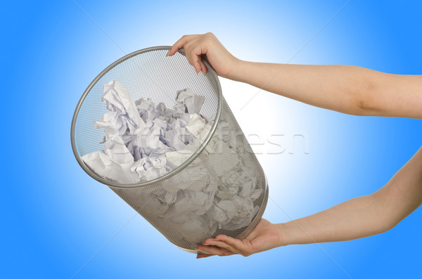 Hands with garbage bin with paper Stock photo © Elnur