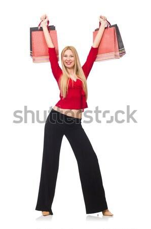Mulher jovem calças isolado branco feliz moda Foto stock © Elnur