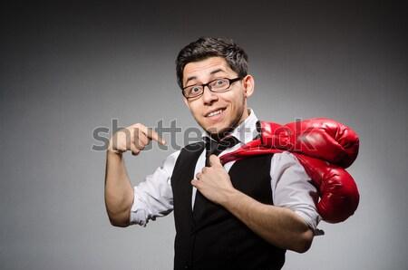 Vesztes üzletember boxkesztyűk üzlet sport háttér Stock fotó © Elnur
