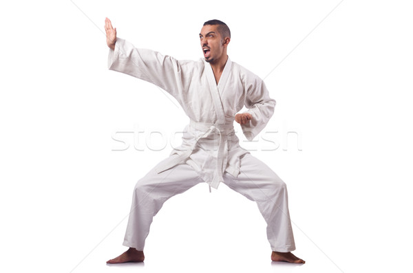 Karate fighter isolated on the white Stock photo © Elnur