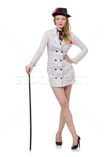 Stock photo: Beautiful girl in striped clothing isolated on white