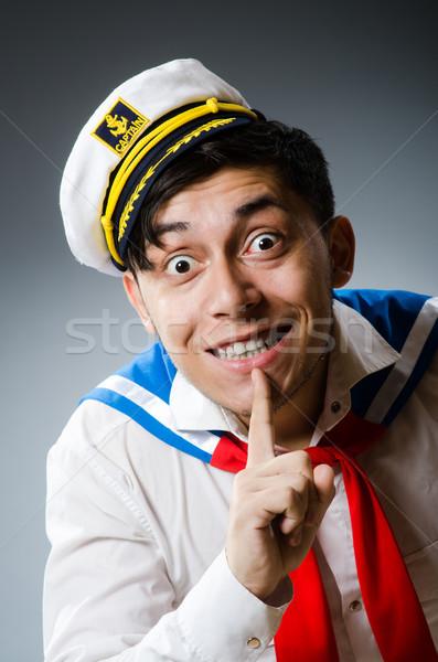 ストックフォト: 面白い · 船乗り · 着用 · 帽子 · 笑顔 · 顔