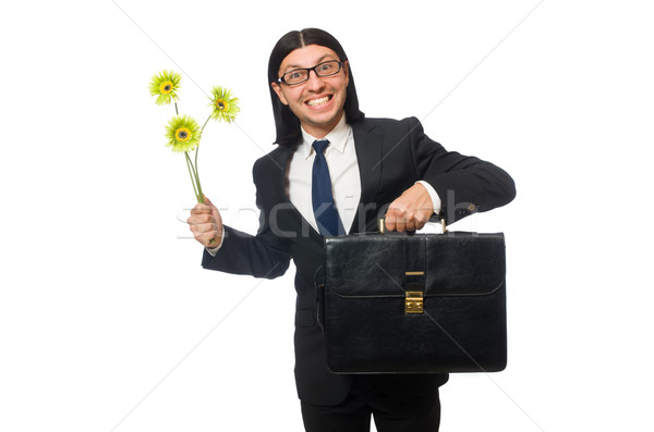 Stock photo: Handsome businessman with flower and brief case isolated on whit