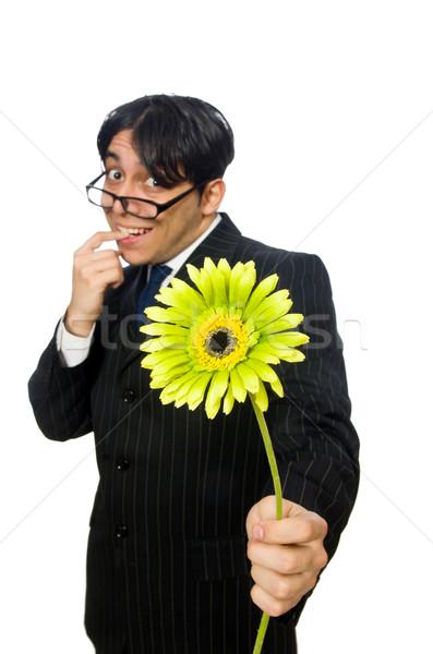 Jeune homme noir costume fleur isolé blanche Photo stock © Elnur