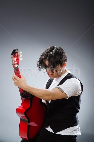 Vicces gitáros musical zene gitár diszkó Stock fotó © Elnur