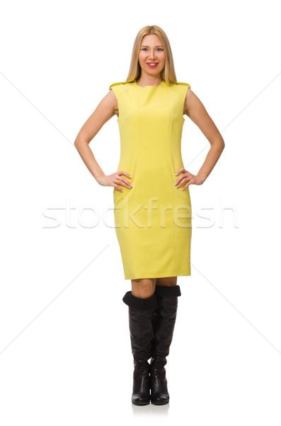 Mooie eerlijke meisje Geel jurk geïsoleerd Stockfoto © Elnur